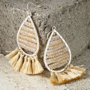 Marlyn Schiff Crystal & Tassel Teardrop Earrings